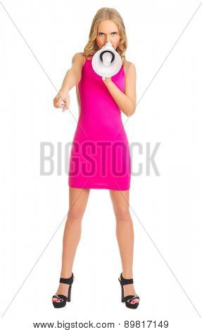 Young girl in red dress with megaphone isolated