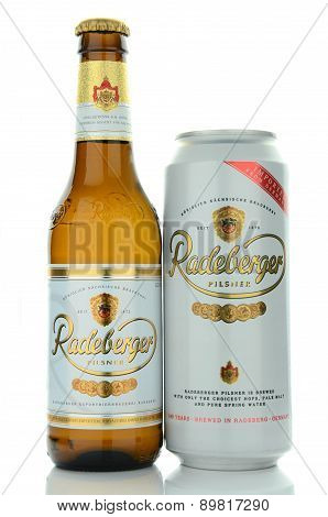 Radeberger pilsner beer isolated on white background