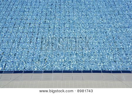 Blue Tiles Pool  Water Waves Perspective