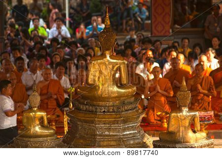 Buddhist Monk Make A Pilgrimage To Buddha In Songkran Festival Day.