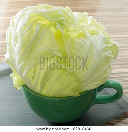Fresh Organic Chinese Cabbage In A Bowl