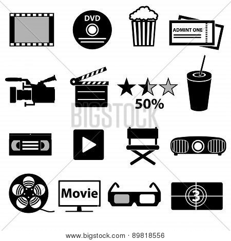 Movie And Cinema Vector Icons Set Eps10