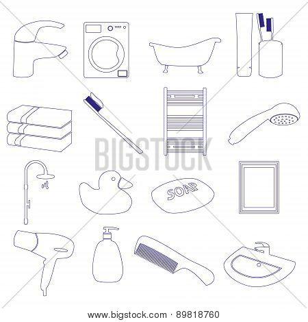Home Bathroom Theme Outline Icons Set Eps10