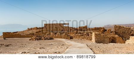 Ruins Of Masada, Ancient Fortification In The Southern District Of Israel