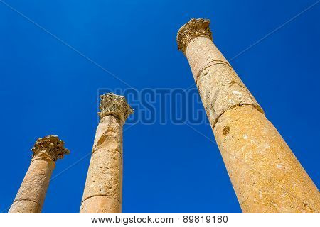 Ancient Ruin At Umm Qais In Jordan Closeup Of Pillars