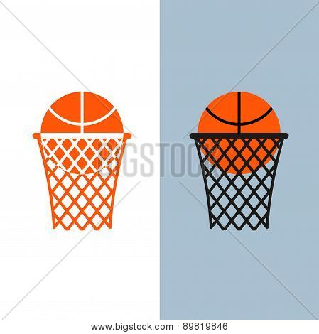 Basketball logo. Ball and  net for basketball games