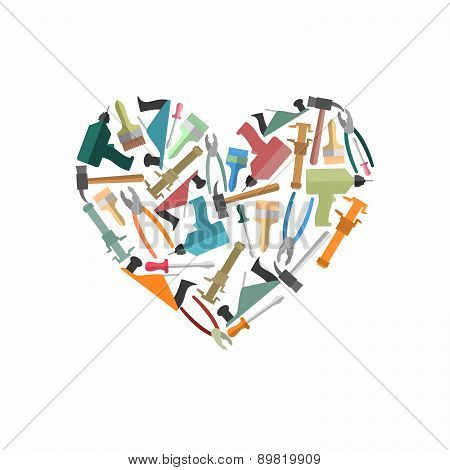Symbol heart of Construction tools. Logo for carpentry shop or mastreskoj tools. Vector illustration