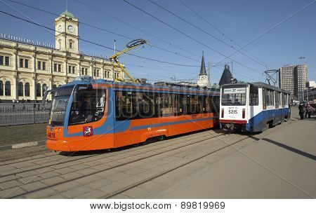 Modern trams in Moscow