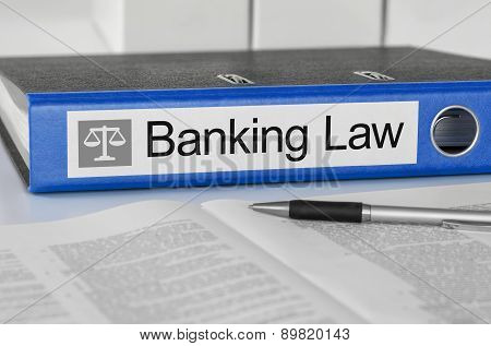 Blue Folder With The Label Banking Law