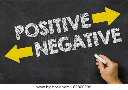Positive Or Negative Written On A Blackboard