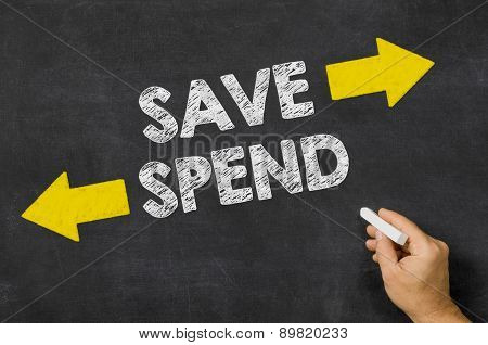Save Or Spend Written On A Blackboard
