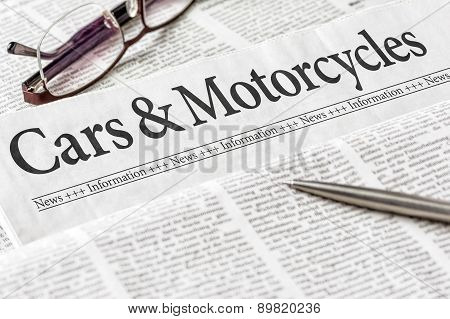 A Newspaper With The Headline Cars And Motorcycles