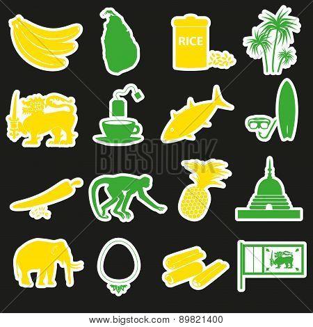 Sri-lanka Country Symbols Color Stickers Set Eps10