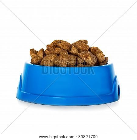 Dry Dog Food In Bowl Isolated On White