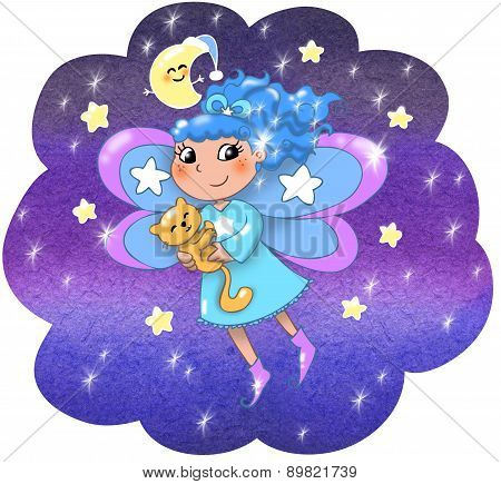 Cute night fairy girl