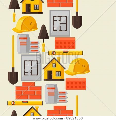 Industrial seamless pattern with housing construction objects