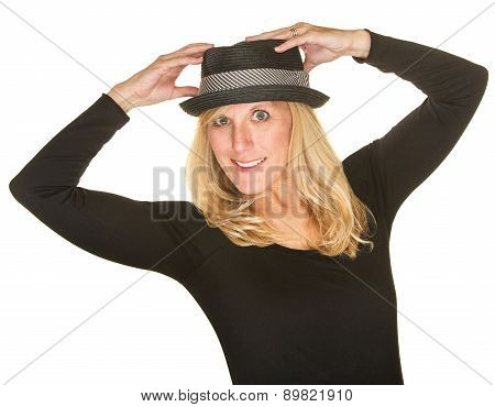 Isolated Dancer Holding Hat