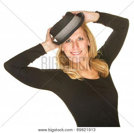 Cute Woman Posing With Hat