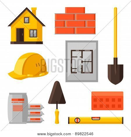 Industrial icon set of housing construction objects