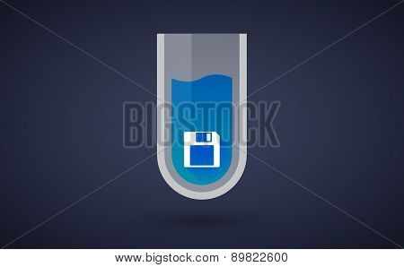 Blue Chemical Test Tube Icon With A Floppy