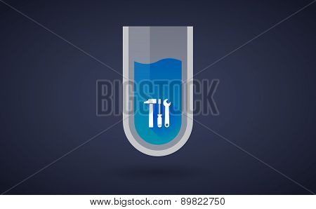 Blue Chemical Test Tube Icon With A Tool Set