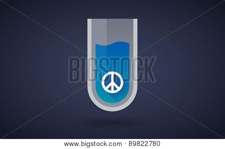 Blue Chemical Test Tube Icon With A Peace Sign