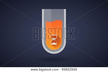 Orange Chemical Test Tube Icon With A Sand Clock