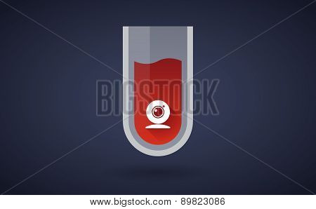 Red Test Tube Icon With A Web Cam
