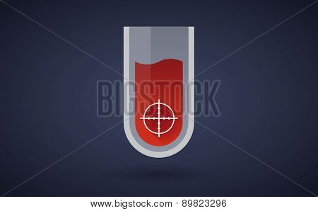 Red Test Tube Icon With A Crosshair