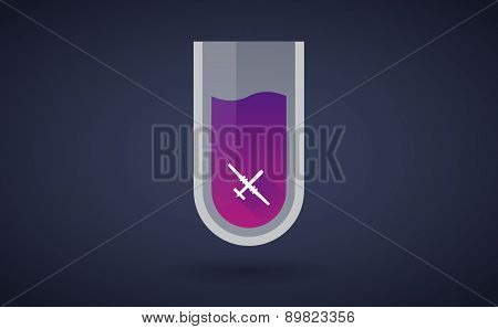 Purple Chemical Test Tube Icon With A War Drone