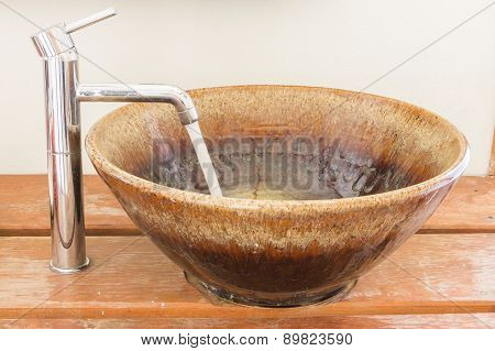 Hand Washing Basin In Bathroom , Retro Style