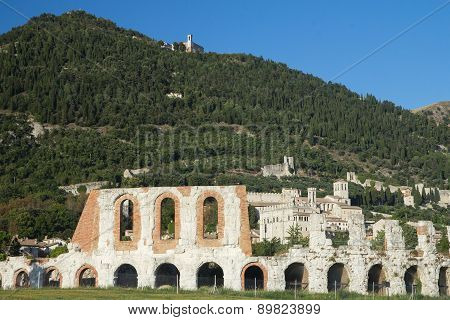 Gubbio Town With The Roman Amphitheater In The Foreground