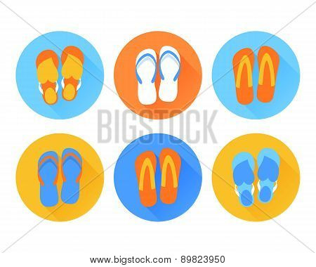 Beach flip flops icon. Flat design.