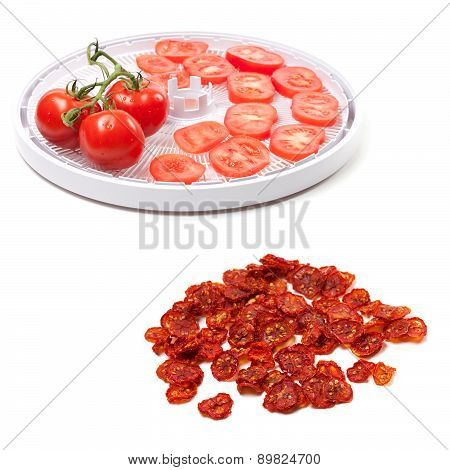 Fresh Tomato Prepared To Dehydrated And Dried Slices