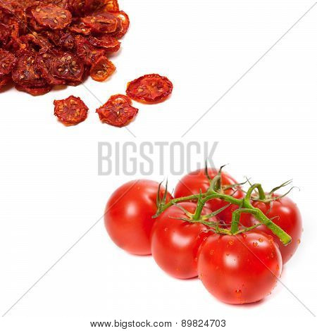 Fresh Ripe And Dried Tomatoes