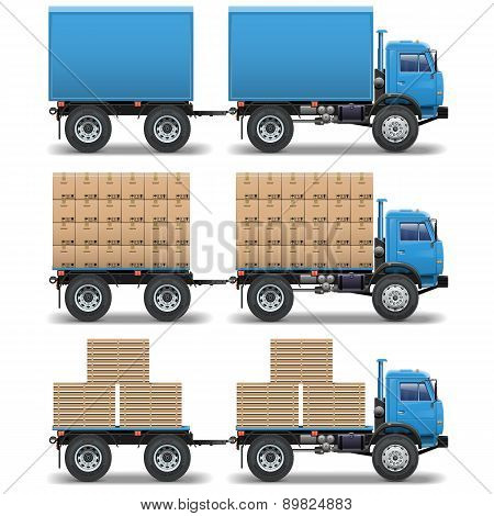 Vector trucks with trailers
