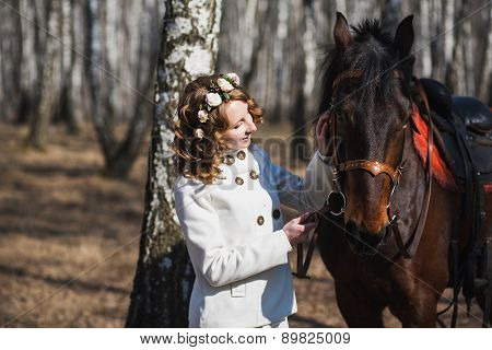 Beautiful Bride With Brown Horse
