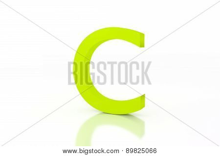 C Letter Green Energy Efficiency Label On White Surface