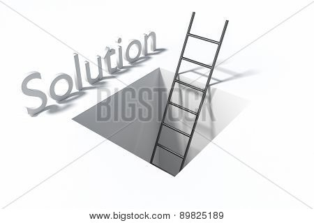 Ladder In Square Hole Over White Surface Solution Illustration