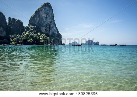 Railay Beach, Andaman Sea In Krabi, Thailand.