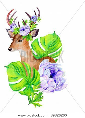 Portrait Of A Deer With Flowers In His Antlers.
