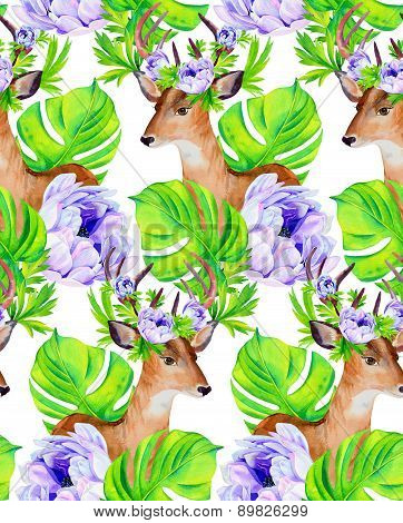 Deer With Flowers, Seamless Pattern