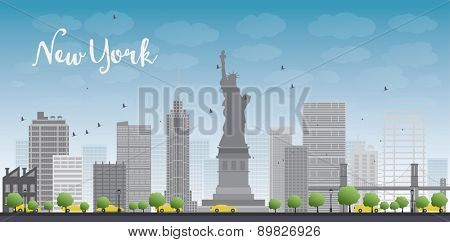 New York city skyline with blue sky, clouds and yellow taxi