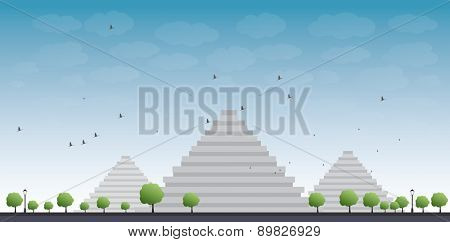 Pyramids in Giza illustration in flat style