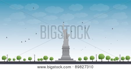 Statue of Liberty New York with Blue Sky and Tree