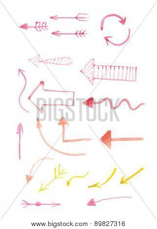 Set of hand-drawn watercolor arrows