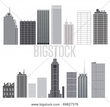 Skyscrapers set. Isolated city design elements