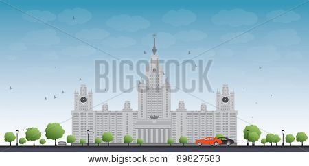 MGU. Moscow State University, Moscow, Russia. illustration with cars and blue sky