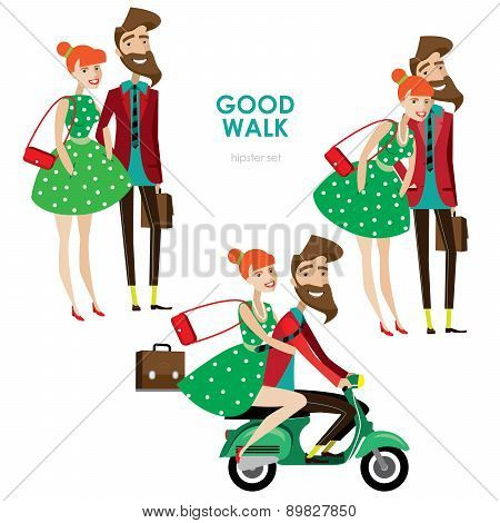 Hipster woman and man on scooter