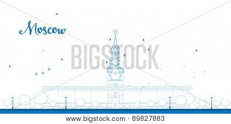 Outline Kremlin Spasskaya tower with clock on Red Square, Moscow, Russia